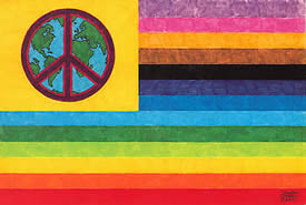"World Peace Flag Post Card 4"" x 6"" One card $1.00 and pack of four cards for $3.50"